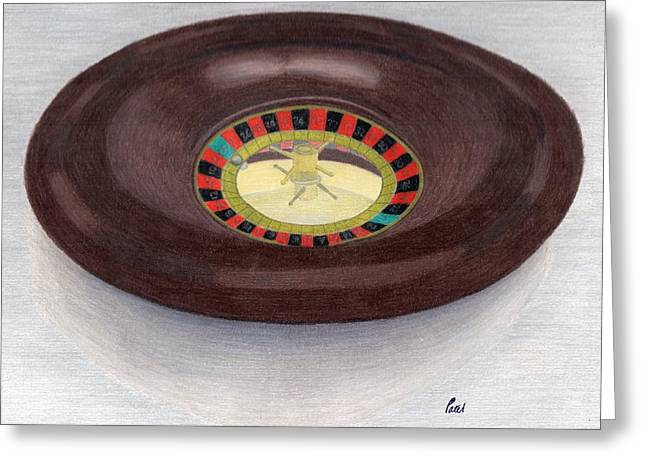 Roulette Wheel Greeting Card by Bav Patel