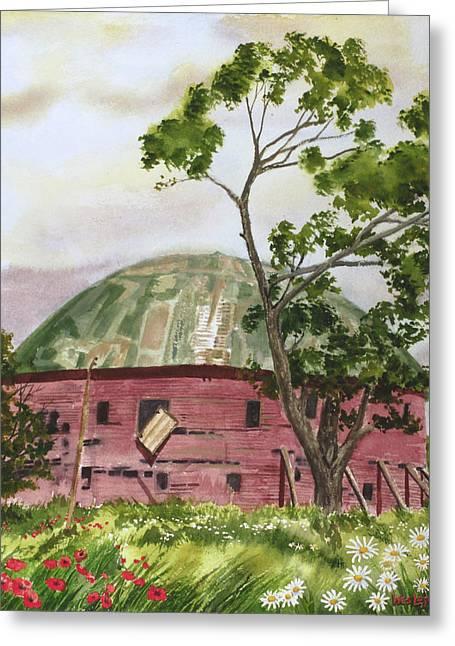 Round Barn Nostalgia Arcadia Oklahoma Rt. 66 Greeting Card by Wes Loper