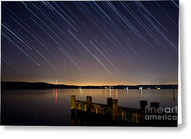 Round Bay Startrails And A Meteor Shower Greeting Card by Benjamin Reed