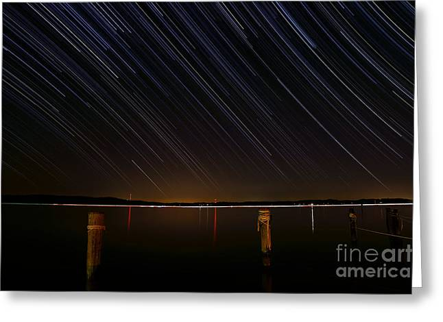 Round Bay Startrails Greeting Card by Benjamin Reed