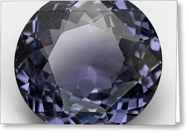 Round Cut Mauve Spinel Gemstone Greeting Card