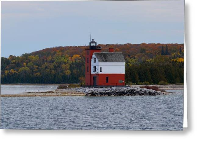 Round Island Lighthouse In Autumn Greeting Card