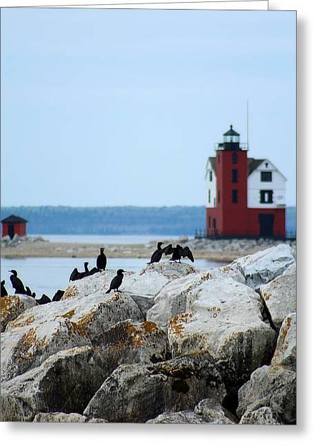 Round Island Passage Lighthouse Greeting Card by Scott Hovind