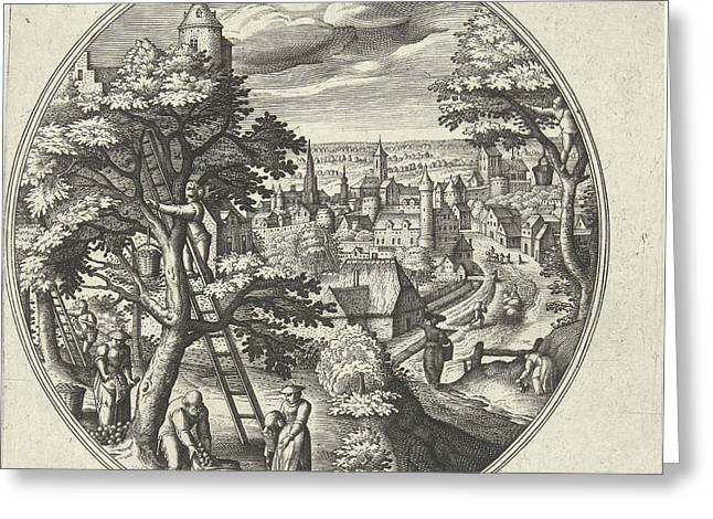 Round Table With An Autumn Landscape And Autumn Scenes Greeting Card by Adriaen Collaert