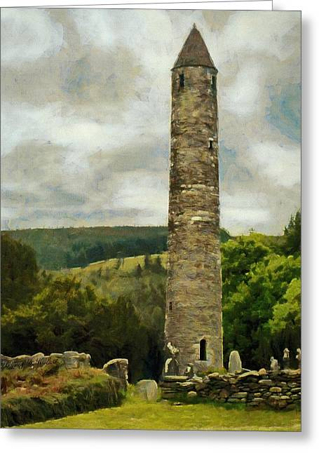 Greeting Card featuring the painting Round Tower At Glendalough by Jeff Kolker
