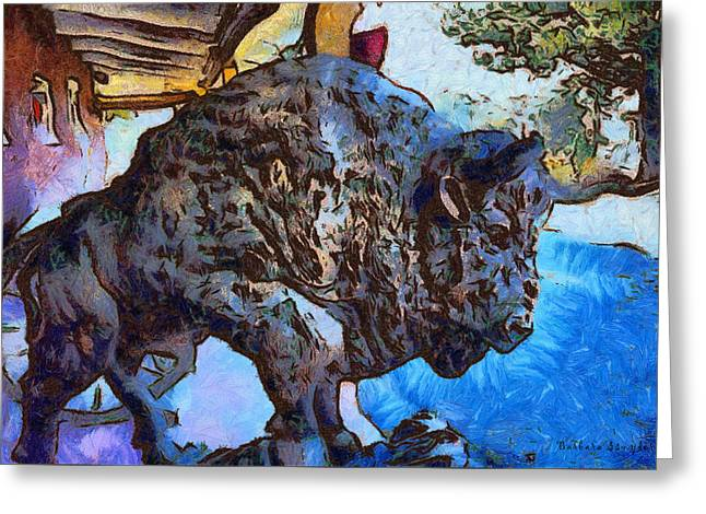 Round Up Market Buffalo Greeting Card by Barbara Snyder