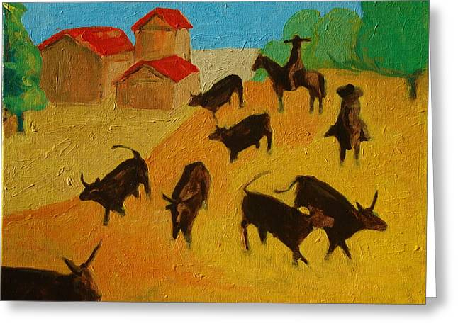Round Up Of The Bulls 3 Painting By Bertram Poole Greeting Card