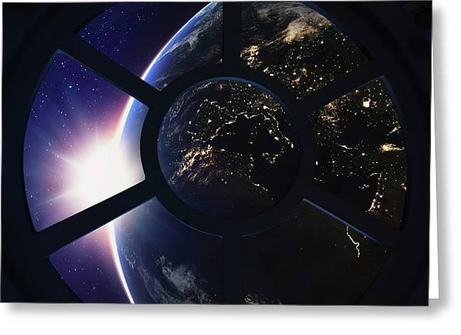 Round Window With View Of Earth Greeting Card by Andrzej Wojcicki