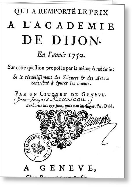 Rousseau Discourse, 1750 Greeting Card