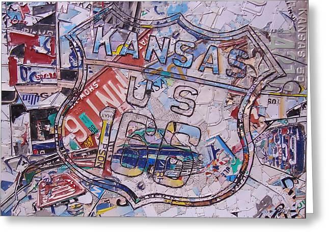 Kansas Route 166  Zip Line Type Greeting Card