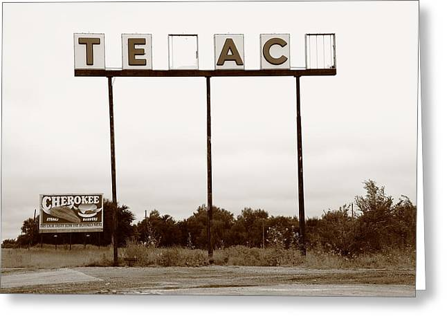 Route 66 - Abandoned Texaco Station Greeting Card by Frank Romeo
