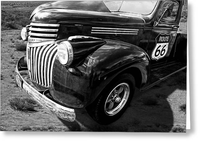 Route 66 Chevy 1941 In Black And White Greeting Card by Gill Billington