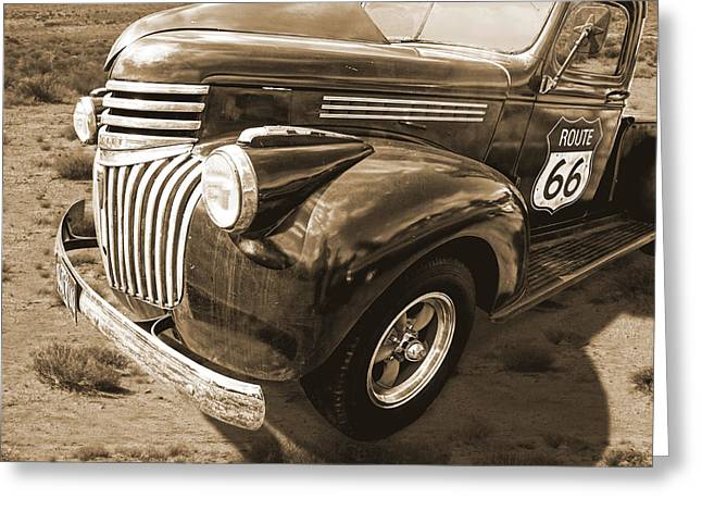 Route 66 Chevy 1941 In Sepia Greeting Card by Gill Billington