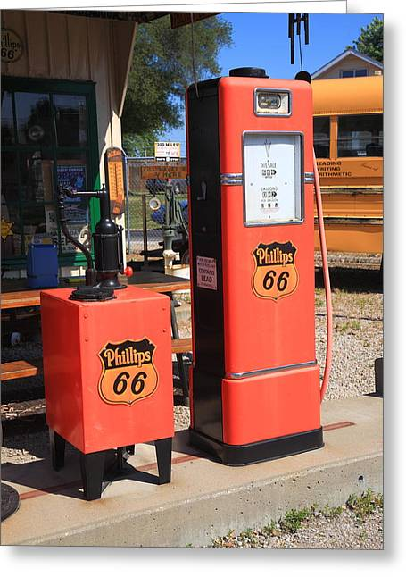 Route 66 Gas Pumps Greeting Card by Frank Romeo
