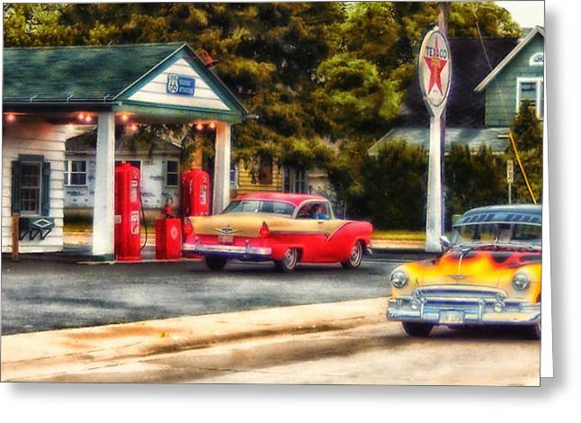 Route 66 Historic Texaco Gas Station Greeting Card by Thomas Woolworth