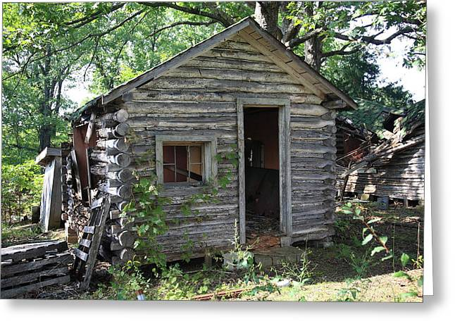 Route 66 - John's Modern Cabins Greeting Card by Frank Romeo