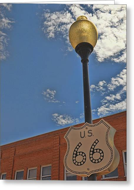 Route 66 Light Post Greeting Card