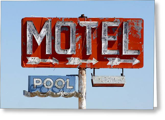 Route 66 Motel Sign Greeting Card by Art Block Collections