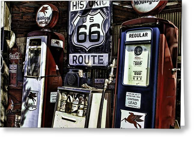Greeting Card featuring the painting Route 66 by Muhie Kanawati