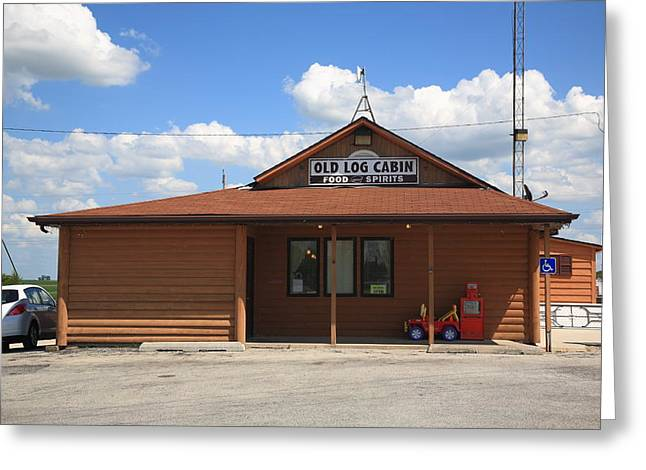 Route 66 - Old Log Cabin 2 Greeting Card by Frank Romeo