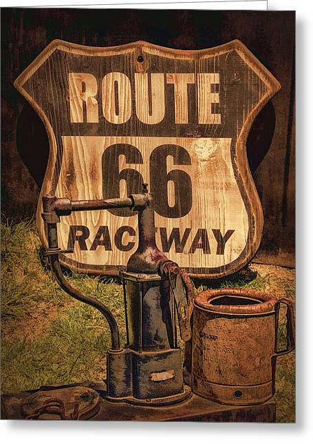 Route 66 Raceway Greeting Card by Priscilla Burgers