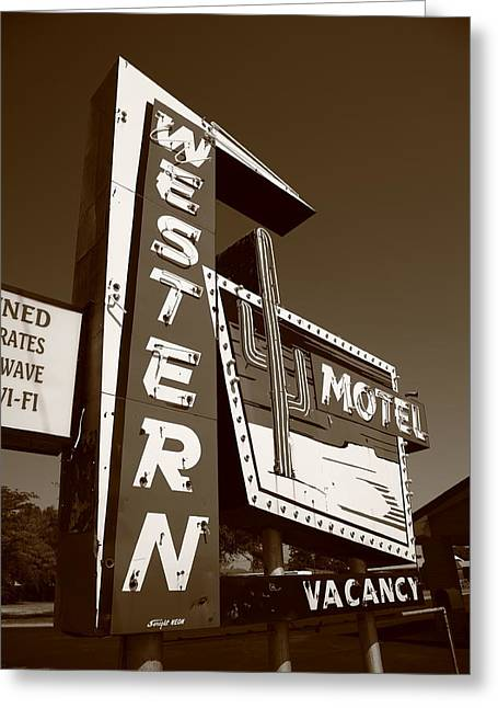 Route 66 - Western Motel 4 Greeting Card by Frank Romeo