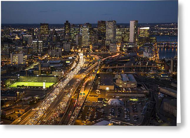 Route 93 Into Boston At Night. Greeting Card by Dave Cleaveland