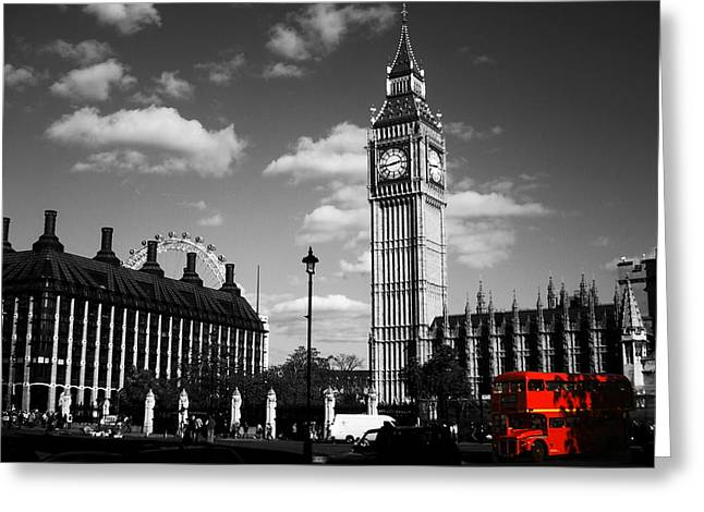 Routemaster Bus On Black And White Background Greeting Card