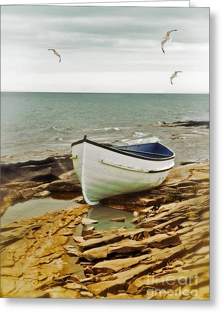 Row Boat On Rocky Shore Greeting Card