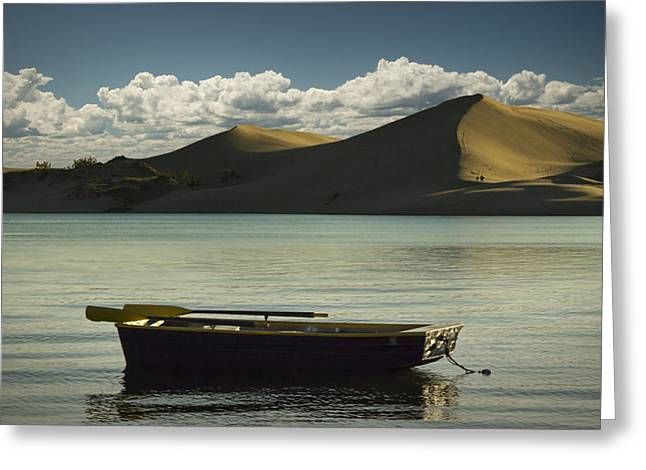 Row Boat On Silver Lake With Dunes Greeting Card by Randall Nyhof