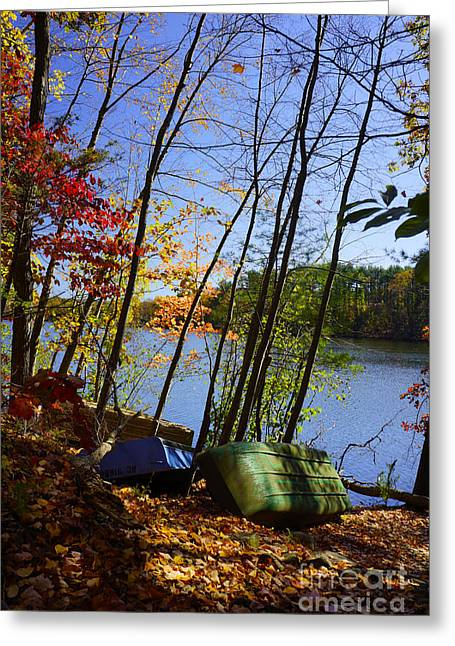 Greeting Card featuring the photograph Row Boats Along Croton Reservoir - Ny by Rafael Quirindongo