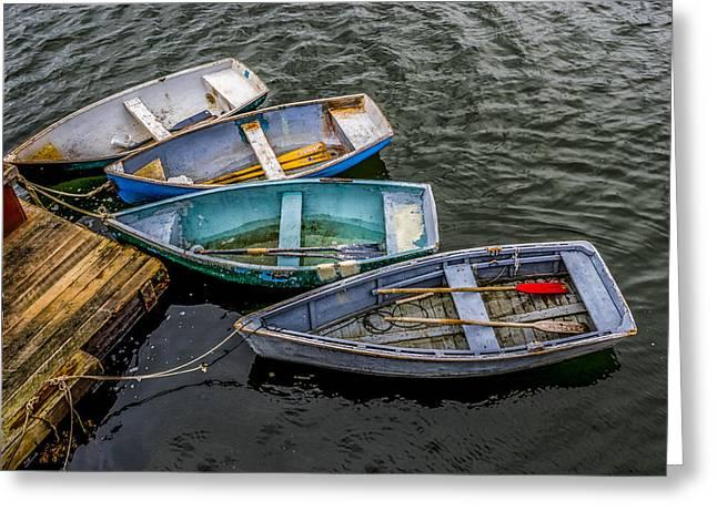 Row Boats At Dock Greeting Card