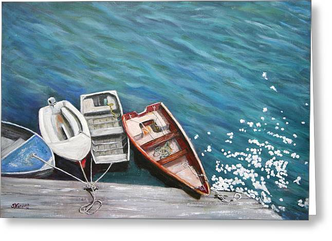 Greeting Card featuring the painting Row Boats At Dock by Sandra Nardone