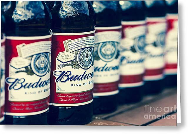 Row Of Beer Bottles Greeting Card