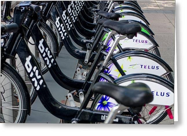Row Of Bikes Greeting Card