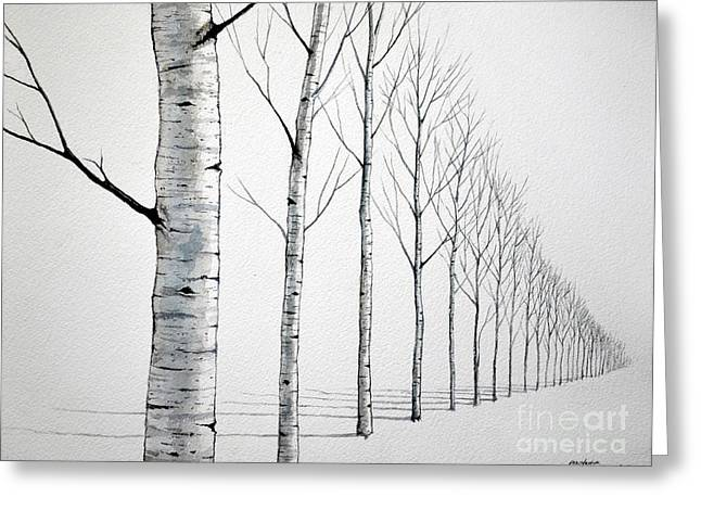 Row Of Birch Trees In The Snow Greeting Card