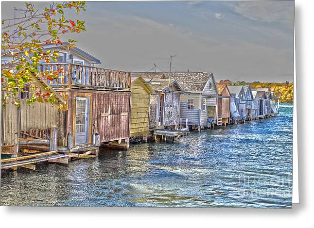 Row Of Boathouses Greeting Card