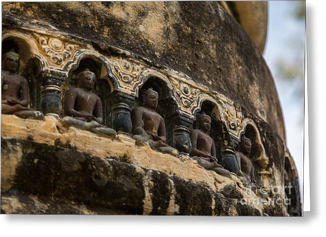 Row Of Buddhas Greeting Card by Mindah-Lee Kumar