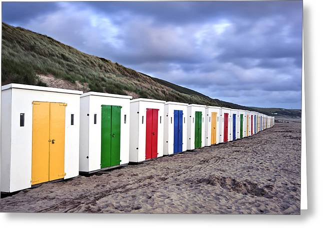 Row Of Colorful Beach Huts  Greeting Card by Matthew Gibson