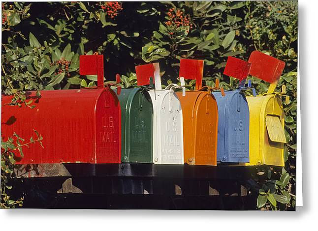 Row Of Colorful Mailboxes Greeting Card by David Litschel