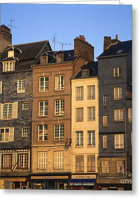 Row Of Houses. Honfleur Harbour. Calvados. Normandy. France. Europe Greeting Card by Bernard Jaubert