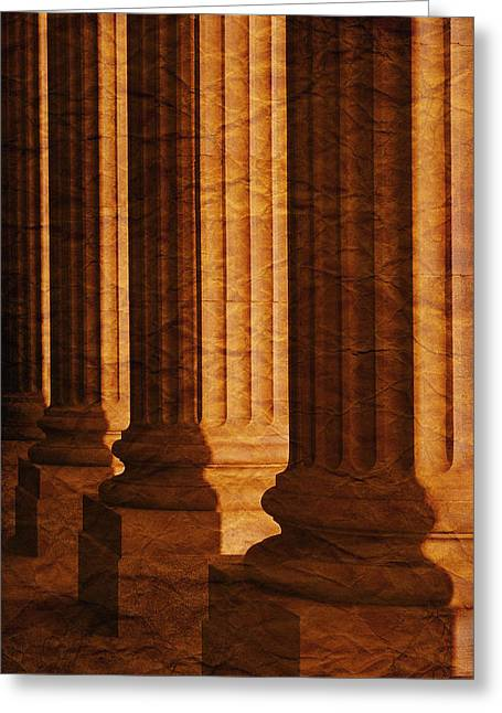 Row Of Large Columns Greeting Card by Don Hammond