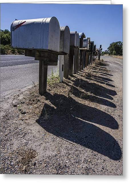 Row Of Mailboxes And Shadows Greeting Card by David Litschel