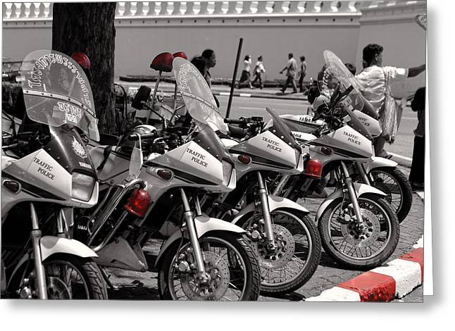 Row Of Police Bikes Bw Greeting Card