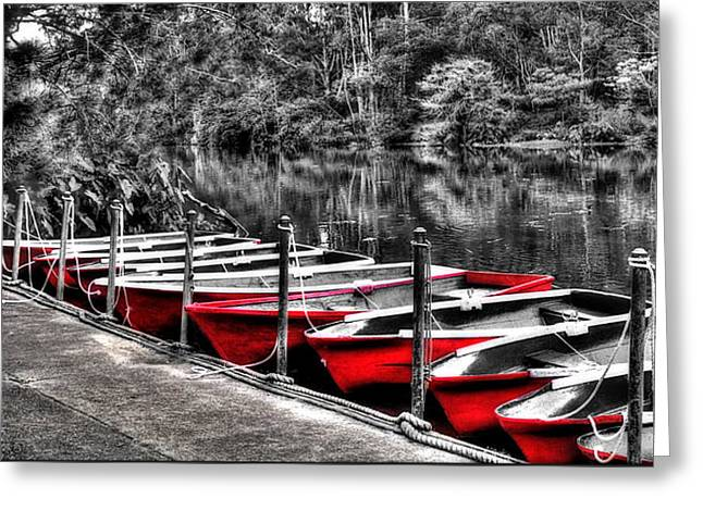 Row Of Red Rowing Boats Greeting Card
