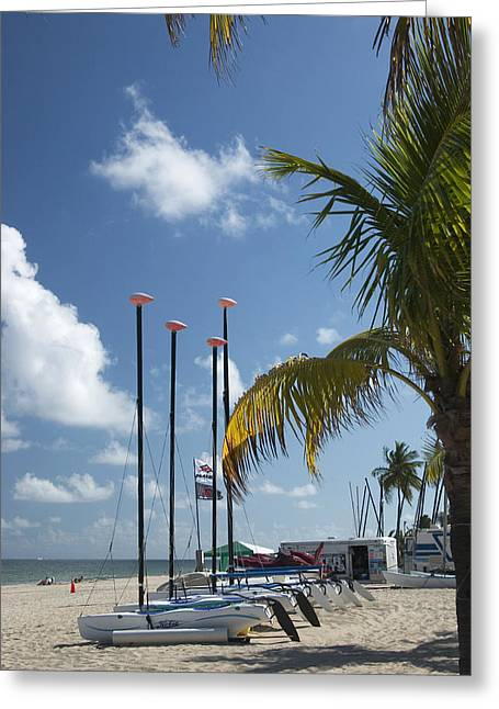 Greeting Card featuring the photograph Row Of Sailboats by Bob Pardue