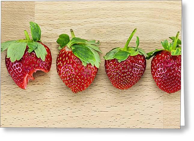 Row Of Strawberries  Greeting Card by Svetlana Sewell