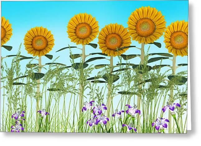 Row Of Sunflowers Greeting Card