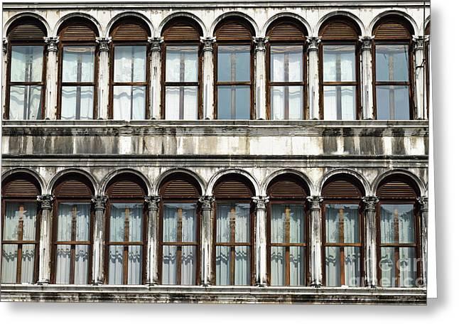 Row Of Windows Greeting Card by Sami Sarkis