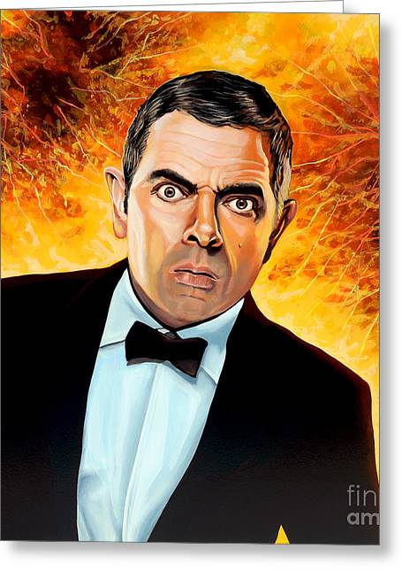 Rowan Atkinson Alias Johnny English Greeting Card by Paul Meijering